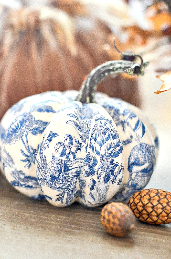close up of a blue and white pumpkin