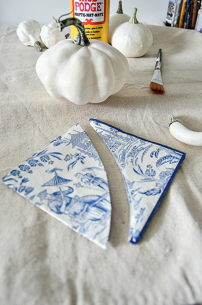 cutting chinoiserie tissue napkins