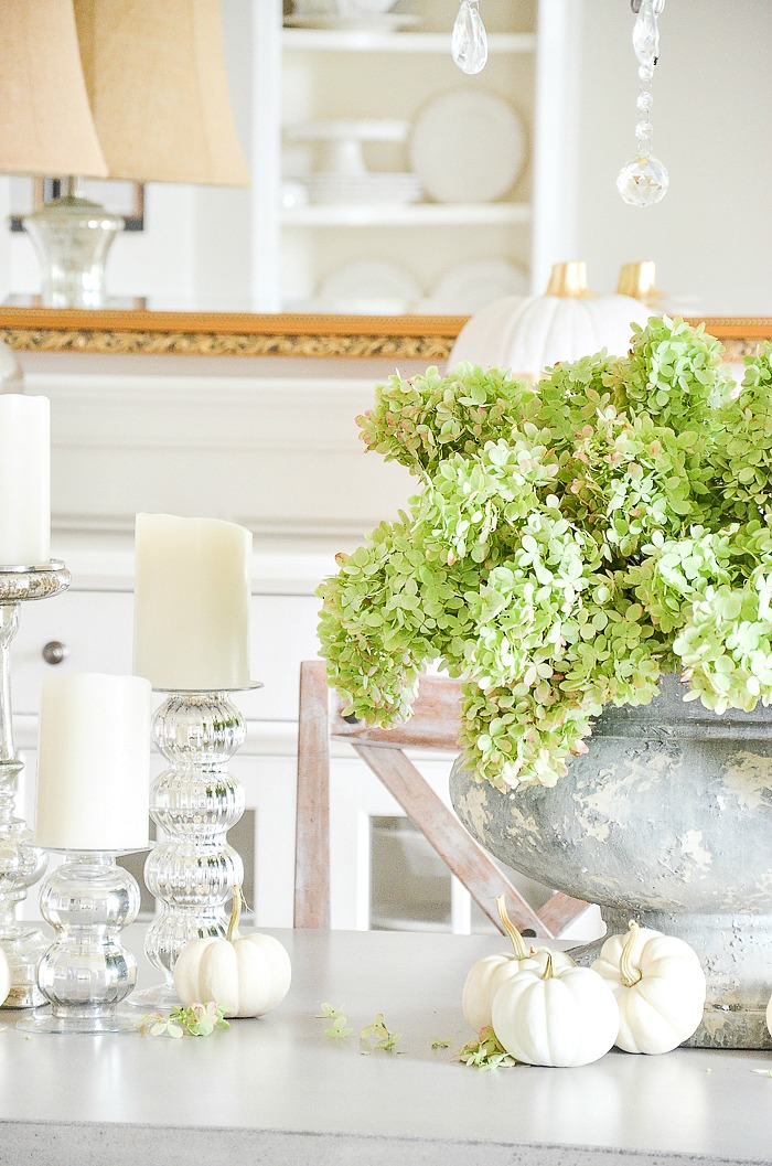 white pumpkins and green hydrangeas across a concrete dining room table
