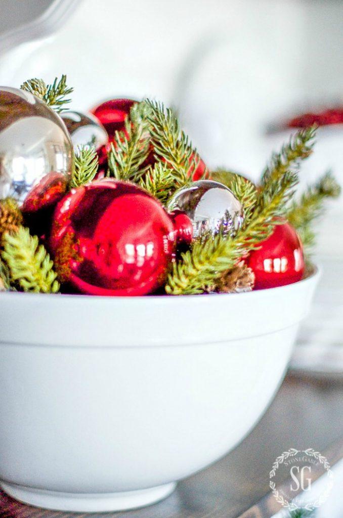 BOWL OF GREENS AND CHRISTMAS BALLS