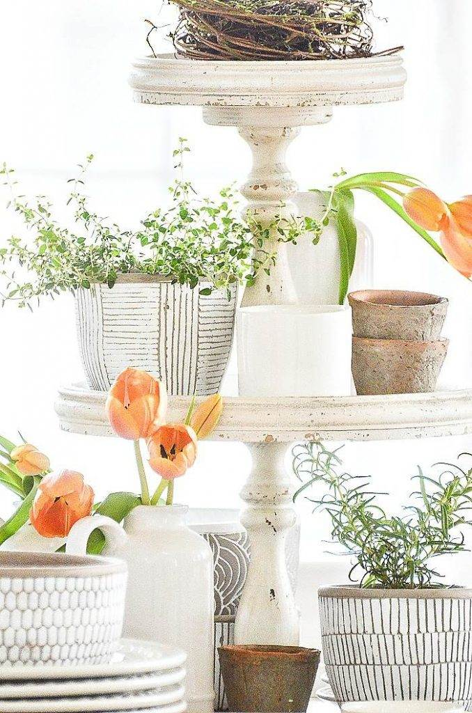 SPRING TIERED TRAY ON A DINING ROOM TABLE
