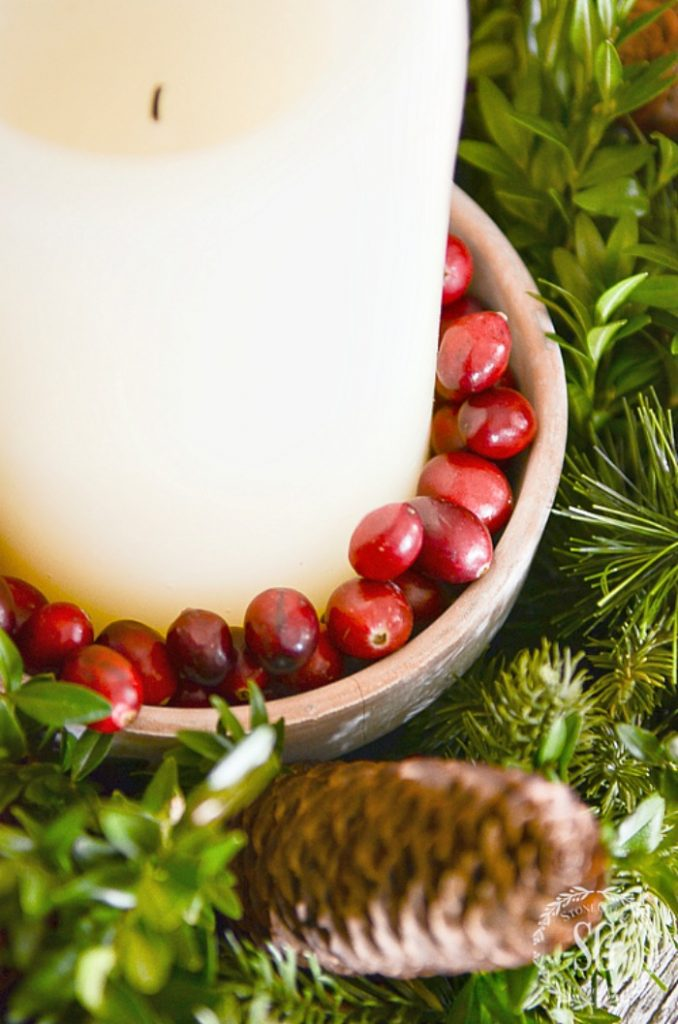 CANDLE IN A BOWL FILLED WITH CRANBERRIES