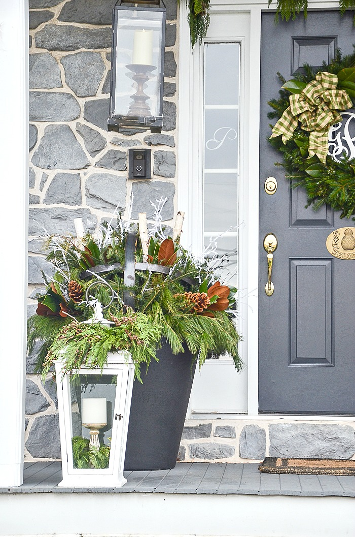 HOW TO DECORATE AN OUTDOOR CHRISTMAS PLANTER - StoneGable Magnolia Home Front Step Planters on front step lighting, front step boxes, front step fences, front step walkways, front step figurines, front step benches, front step lanterns, front step decks, front step pavers, front step landscaping, front step garden, front step flowers,