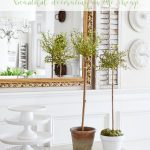 BUFFET WITH INEXPENSIVE TOPIARIES ON IT