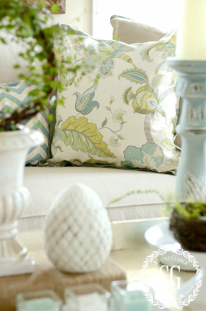 spring pillow in greens and aquas