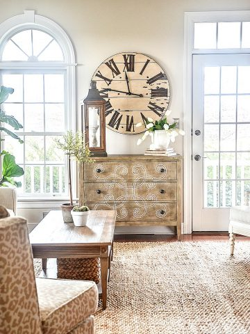 decorating mistakes- image of living room with big clock