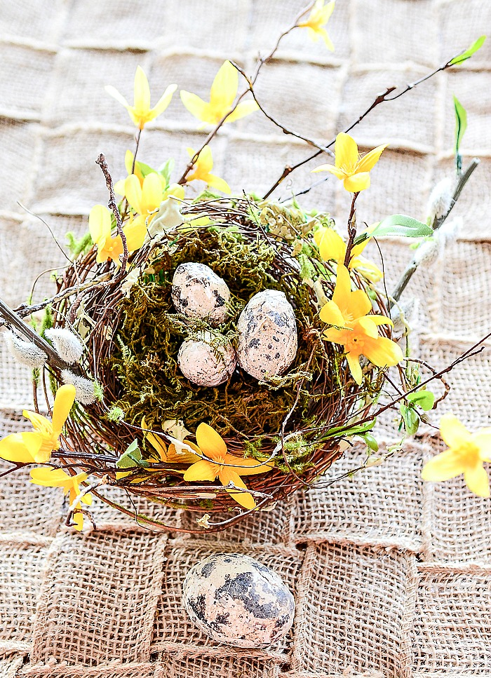 embellished store bought nest with eggs