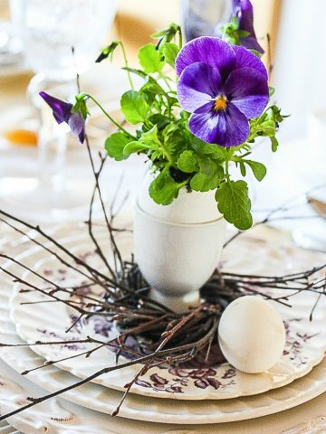 PANSIES IN EGG CUPS