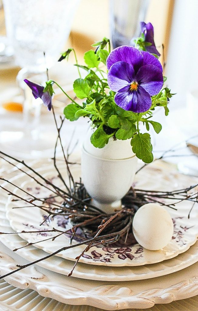 purple pansy in eggshell and in a small egg cup