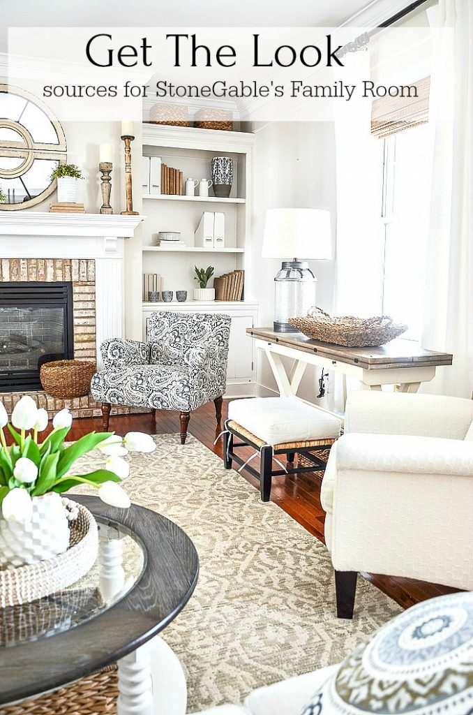 FAMILY ROOM MANTEL AND BOOKSHELVES WITH BLUE AND WHITE CHAIRS