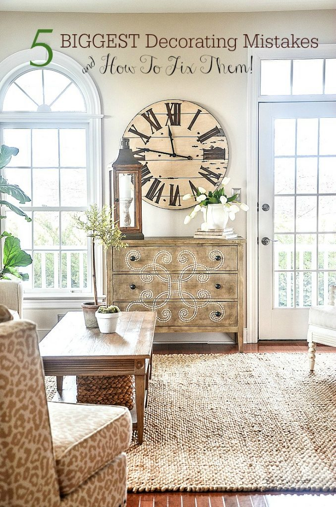 biggest decorating mistakes- clock in living room