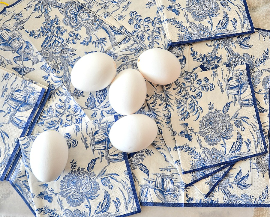 Chinoiserie napkins and blow out eggs