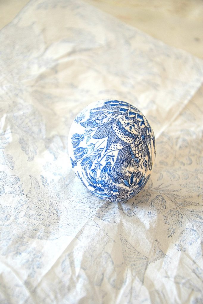 blue and white decoupage egg