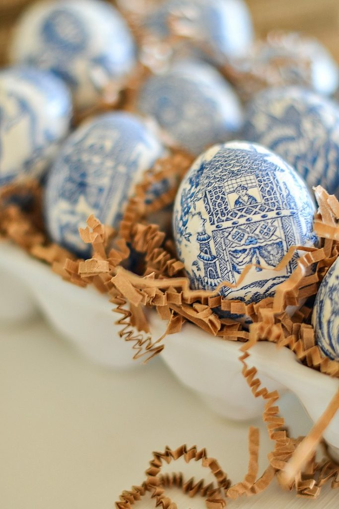 decorating for spring after Easter with diy chinoiserie eggs in brown crinkle paper