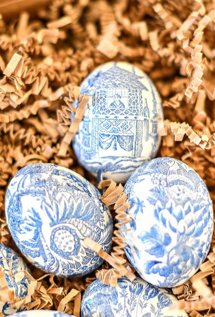 tissue paper motif on eggs