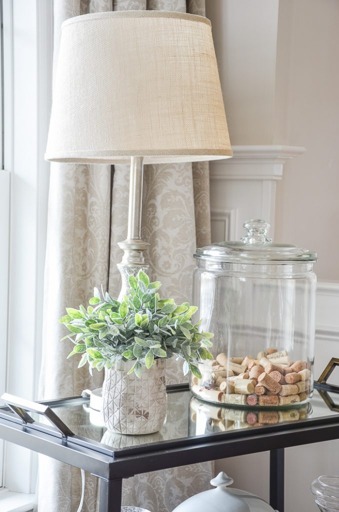 best decorating tip- lamp on bar cart with plant