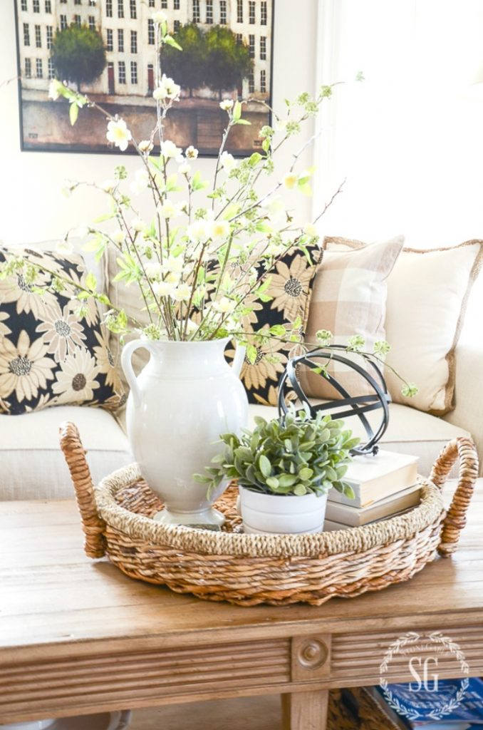 spring vignette with faux spring flowers