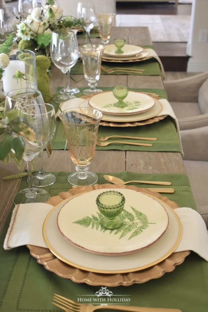 homestyle gathering 14 tablescape with dishes silverware and glasses in green and white