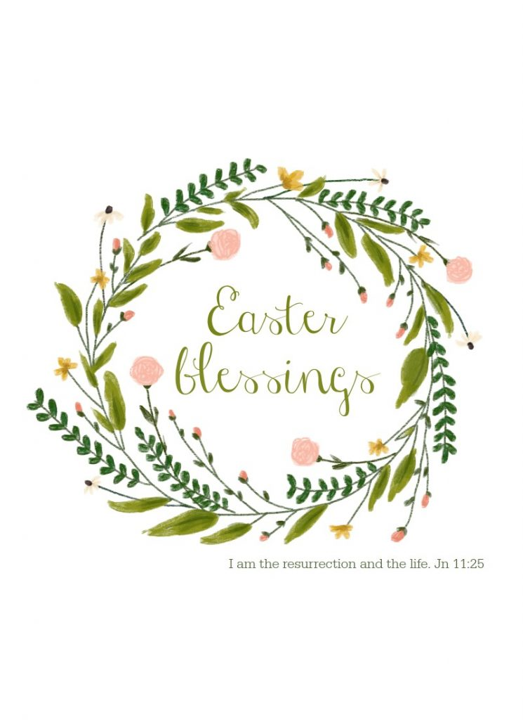 Easter blessing free printable spring wreath