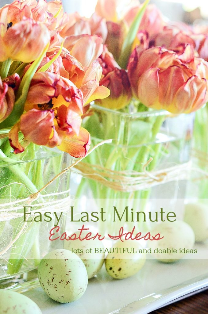 easy last minute Easter ideas that are doable like tulips in square glass containers