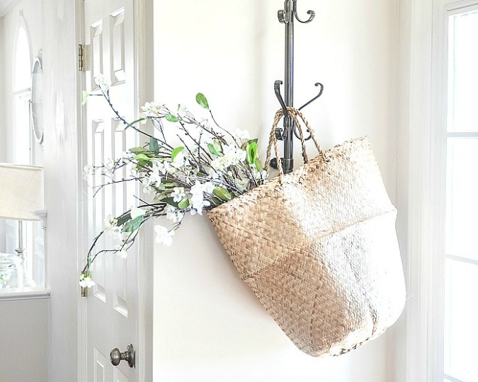 homestyle gathering 14 your homekeeping destination coat hanger with woven tote and flowers