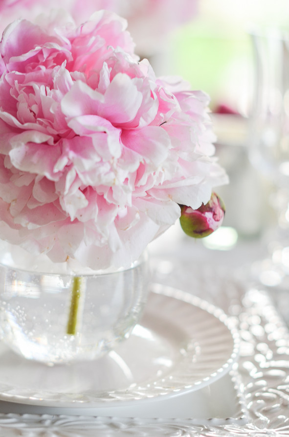 pink peony bouquet tablescape