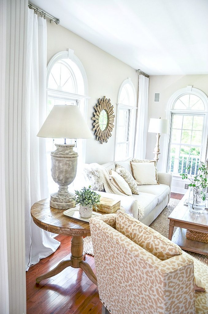 white linen curtains for summer in a living room
