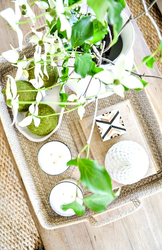 top view of coffee table accessories in a basket