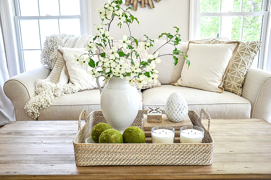 Coffee Table Decor Tray Filled With Pretty Summer Elements