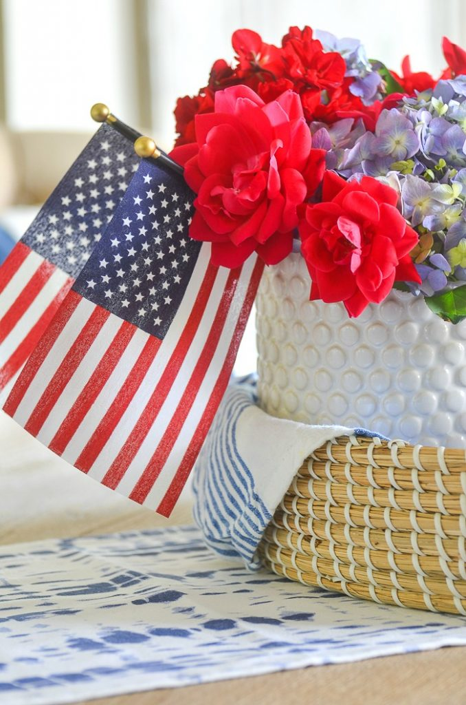 red white and blue kitchen table vignette