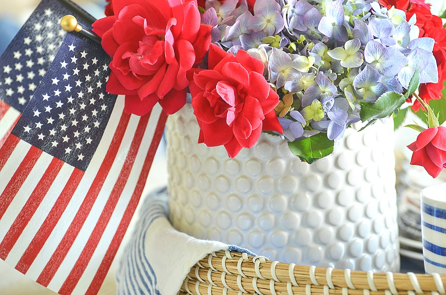 patriotic centerpiece of red white and blue flowers