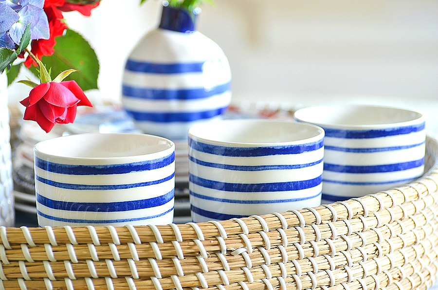cute blue and white striped cups