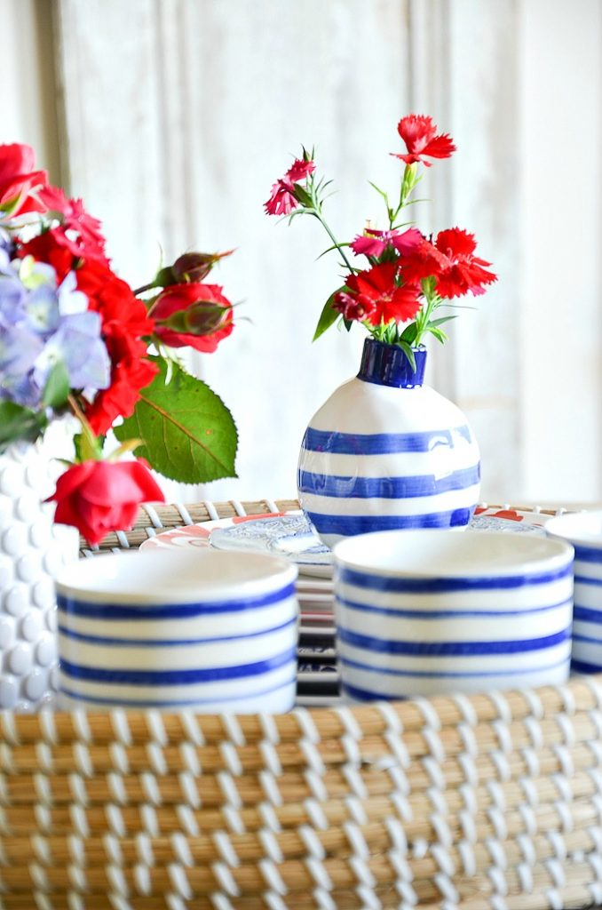 quirky little blue and white vase in a patriotic centerpiece
