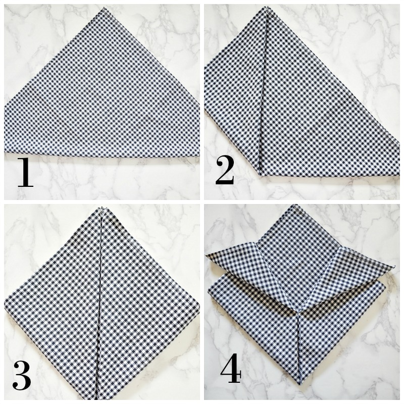 step by step napkin folding instructions