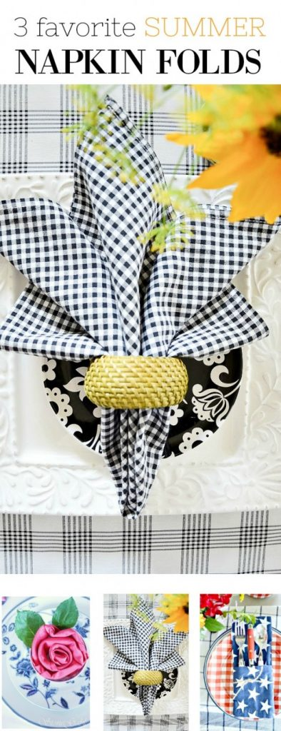 three favorite summer napkin folds shown together