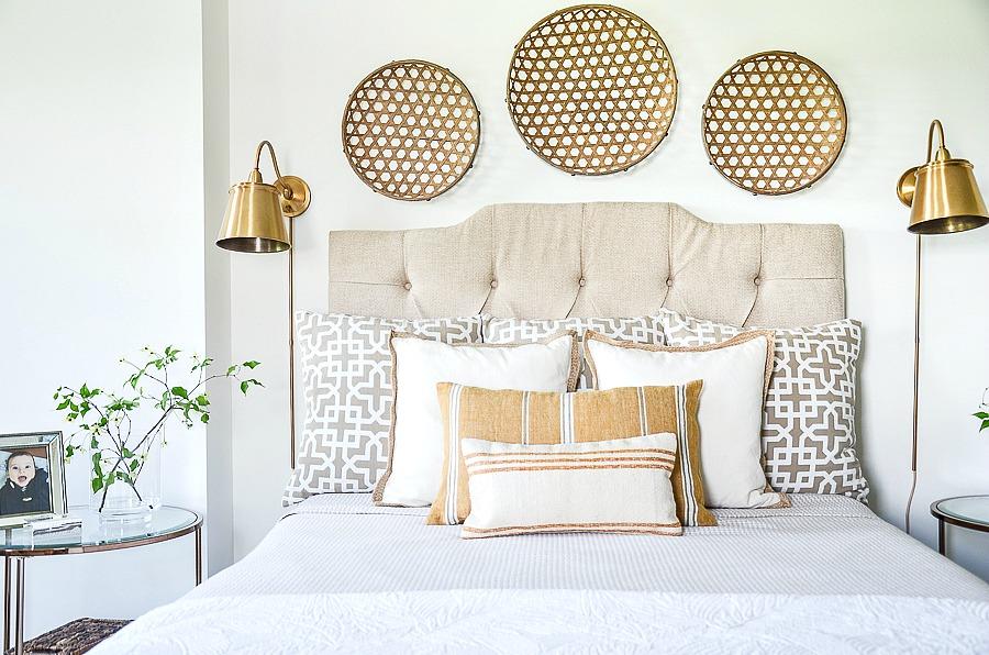 summer bedding in the master bedroom