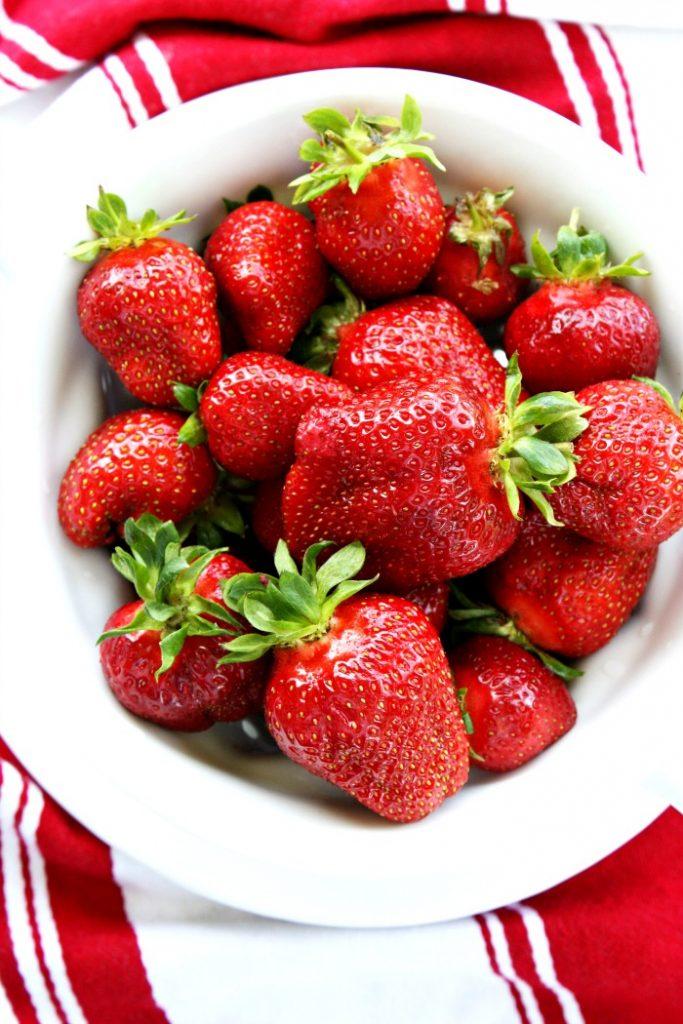 bowl of fresh strawberries on the menu this week