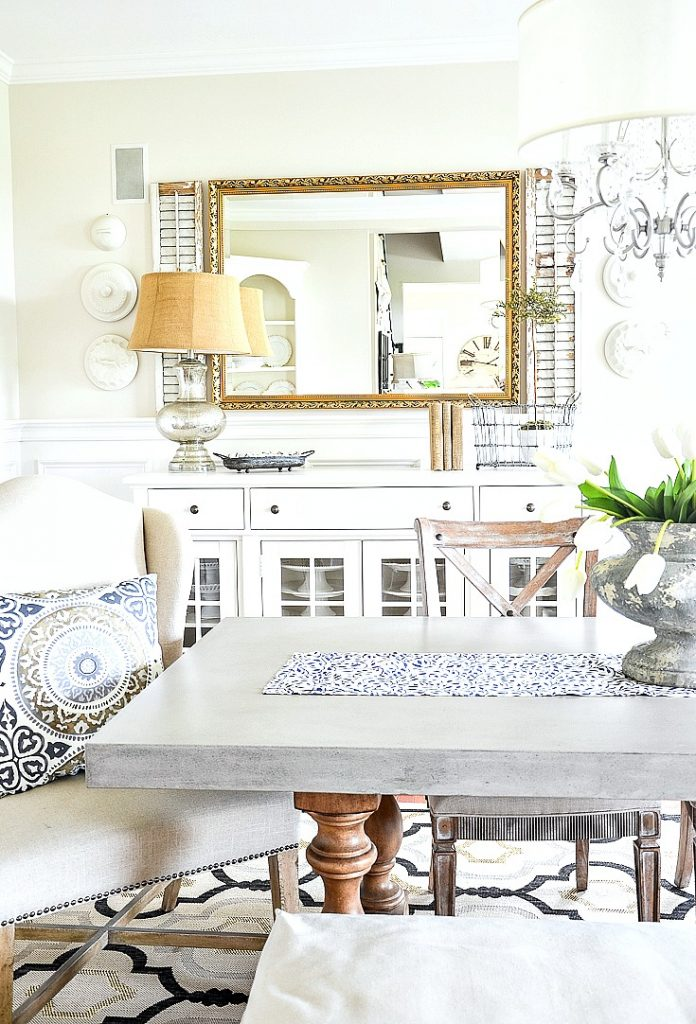 farmhouse decor on a white buffet