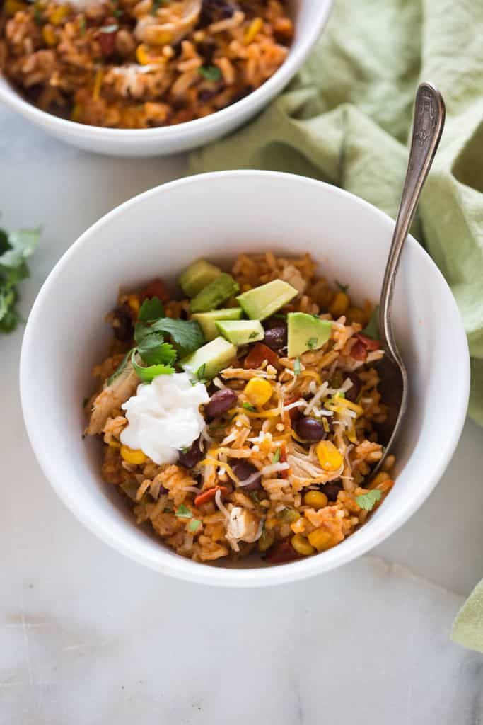 taco chicken bowl on the menu