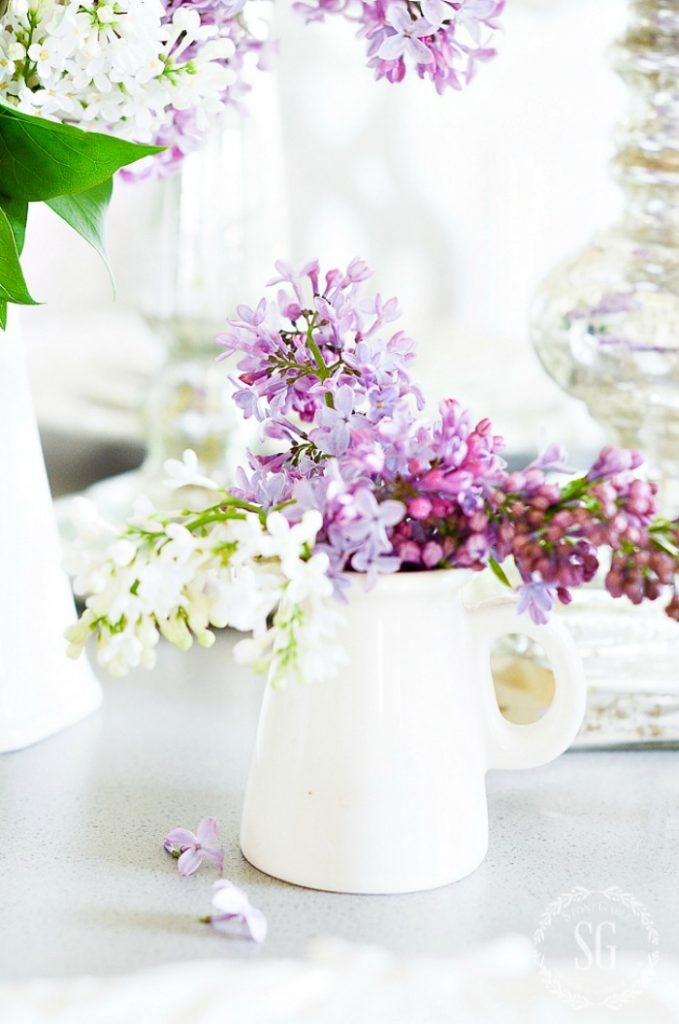 pretty small white container of fresh lavender looks pretty in a decluttered home