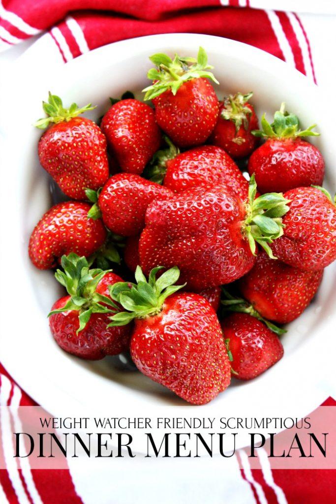 large bowl of red strawberries on the menu this week