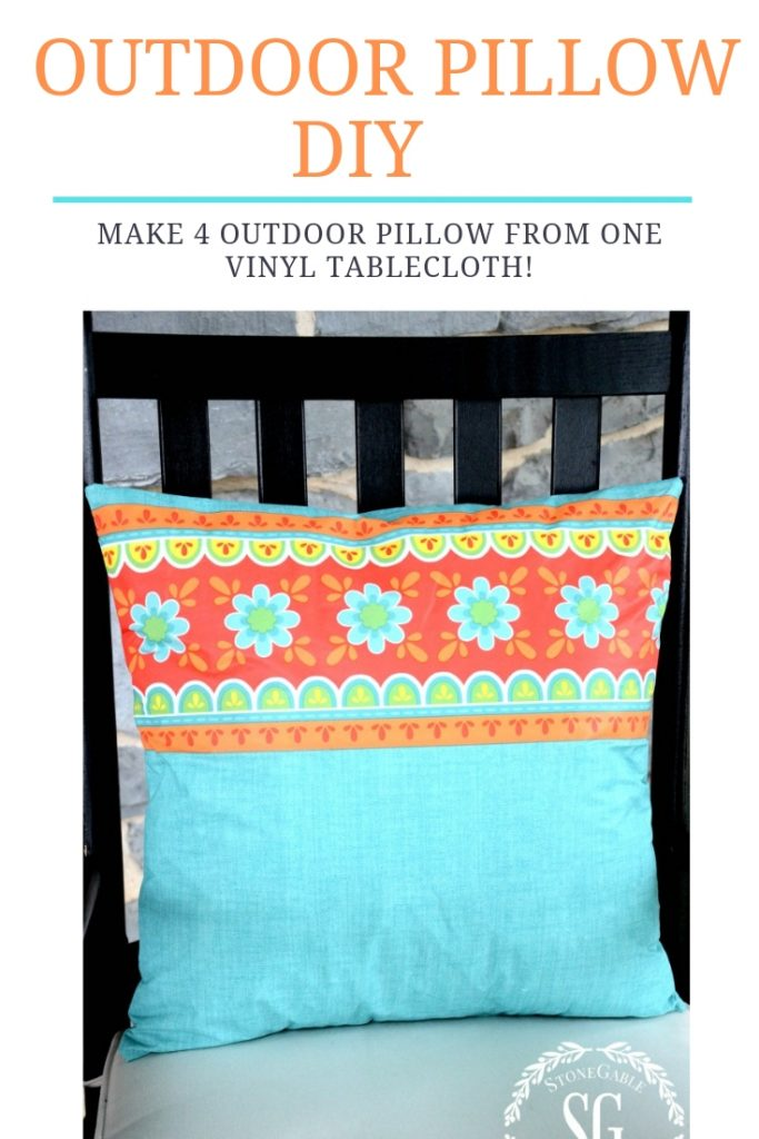 pretty colorful outdoor pillow made from a vinyl tablecloth
