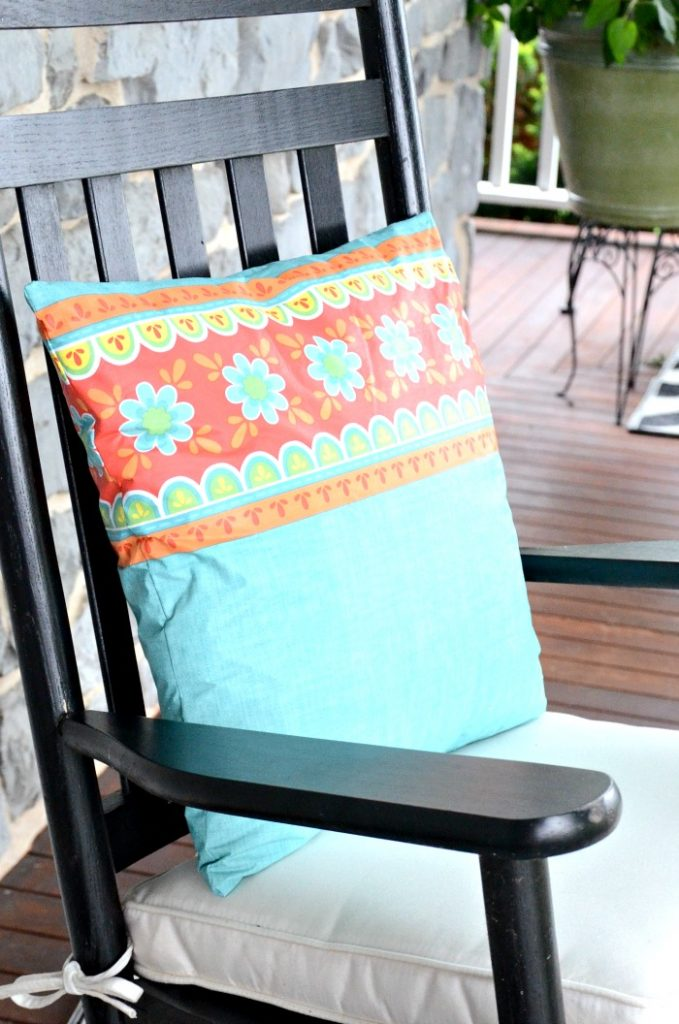 outdoor pillow diy made this aqua and red flowered outdoor pillow