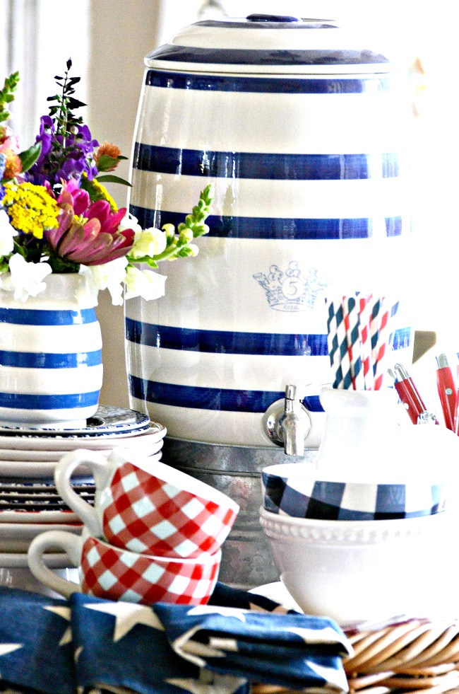 blue and white summer vignette on a kitchen table