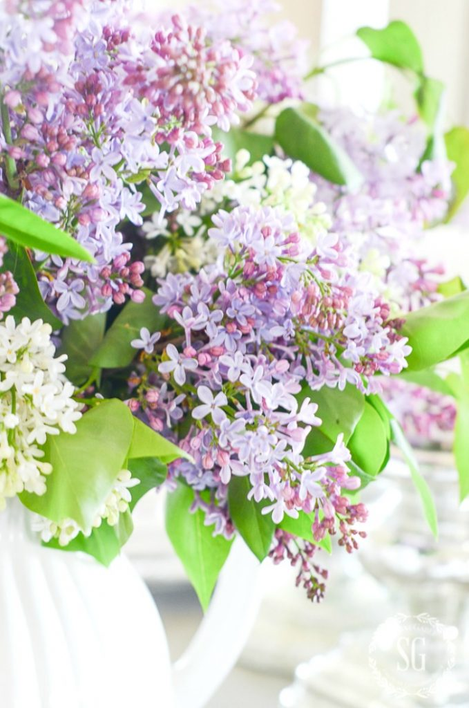 lilacs on a table in a decluttered home