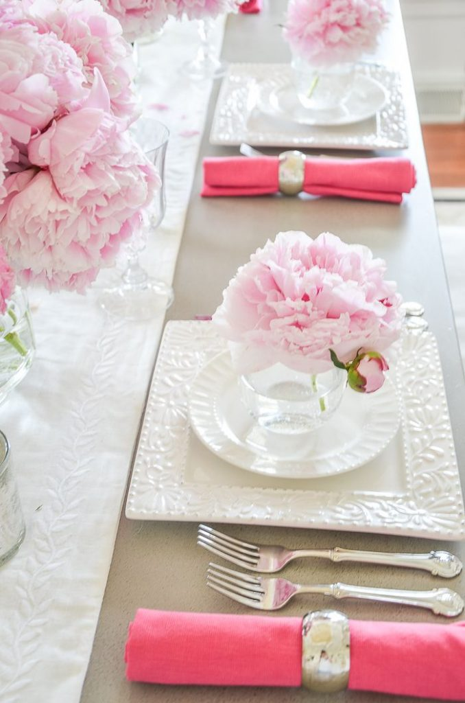 side view of place settings on a table