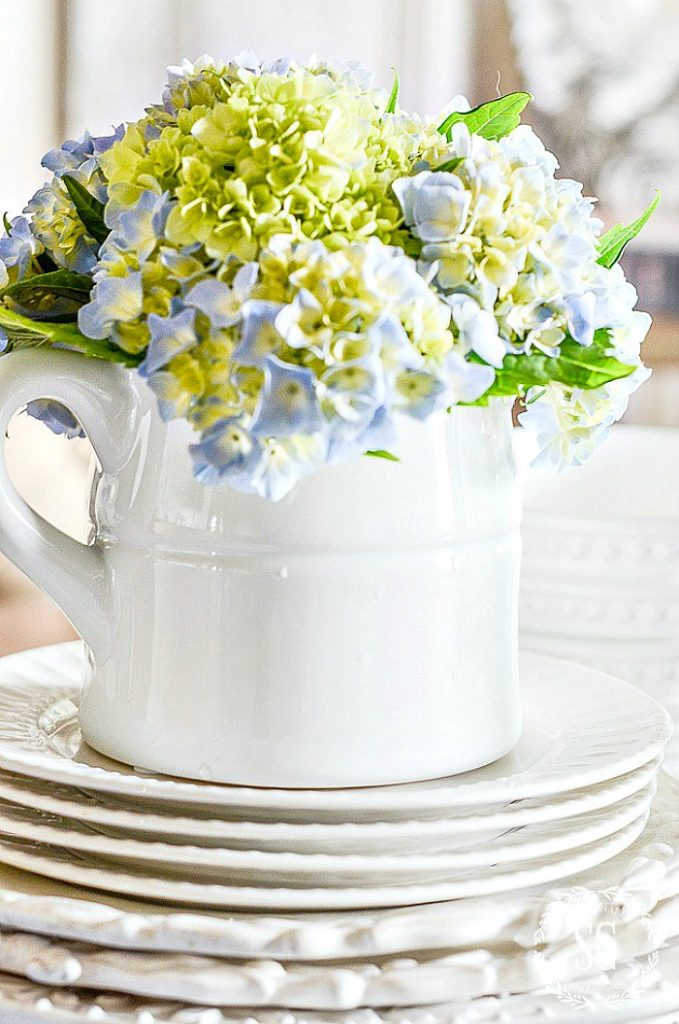 blue hydrangeas in an arrangement