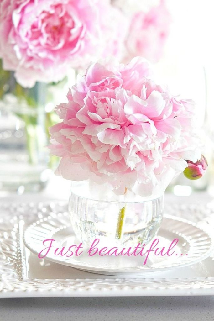 beautiful pink peony bouquet table
