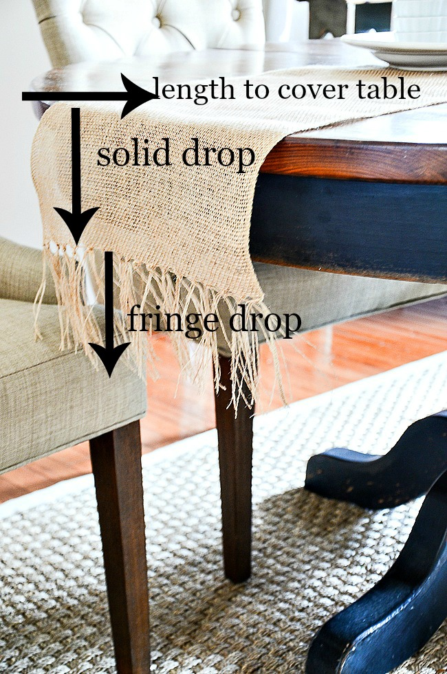 directions on image of how to make a burlap table runner