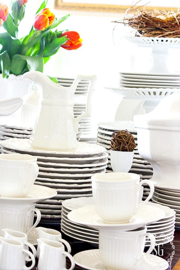 stacks of white dishes
